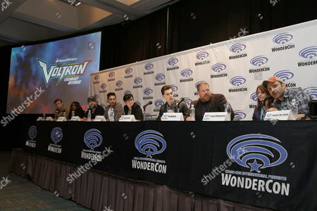 "Rhys Darby, Kimberly Brooks, Tyler Labine, Josh Keaton, Bex Taylor-Klaus, Jeremy Shada, Writer Tim Hedrick, Executive Producer Lauren Montgomery and Executive Producer Joaquim Dos Santos seen at DreamWorks Animation ""Voltron: Legendary Defender"" Wondercon Presentation at Los Angeles Convention Center, in Los Angeles, CA"