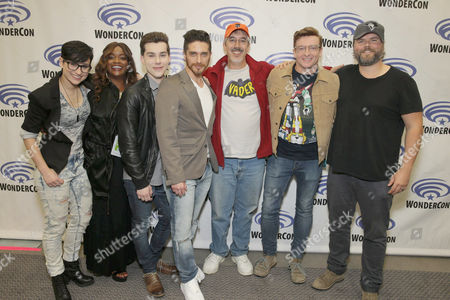 "Bex Taylor-Klaus, Kimberly Brooks, Jeremy Shada, Josh Keaton, Neil Kaplan, Rhys Darby and Tyler Labine seen at DreamWorks Animation ""Voltron: Legendary Defender"" Wondercon Presentation at Los Angeles Convention Center, in Los Angeles, CA"