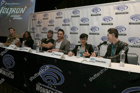 "Rhys Darby, Kimberly Brooks, Tyler Labine, Josh Keaton, Bex Taylor-Klaus and Jeremy Shada seen at DreamWorks Animation ""Voltron: Legendary Defender"" Wondercon Presentation at Los Angeles Convention Center, in Los Angeles, CA"