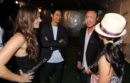 From left, Briana Evigan, Harry Shrum Jr., director Jon M. Chu, and Mari Koda speak to each other at the DS2DIO Launch Party on in Los Angeles