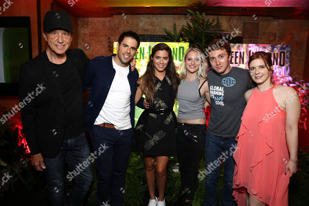 """Stock Picture of Artist Jim Evans, Director Eli Roth, Lorenza Izzo, Kirby Bliss Blanton, Daryl Sabara and Magda Apanowicz seen at Eli Roth and BH Tilt """"The Green Inferno"""" at 2015 Comic-Con, in San Diego"""