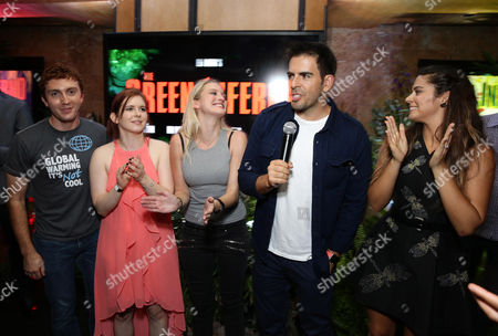 """Daryl Sabara, Magda Apanowicz, Kirby Bliss Blanton, Director Eli Roth and Lorenza Izzo seen at Eli Roth and BH Tilt """"The Green Inferno"""" at 2015 Comic-Con, in San Diego"""