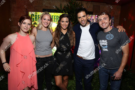 """Magda Apanowicz, Kirby Bliss Blanton, Lorenza Izzo, Director Eli Roth and Daryl Sabara seen at Eli Roth and BH Tilt """"The Green Inferno"""" at 2015 Comic-Con, in San Diego"""