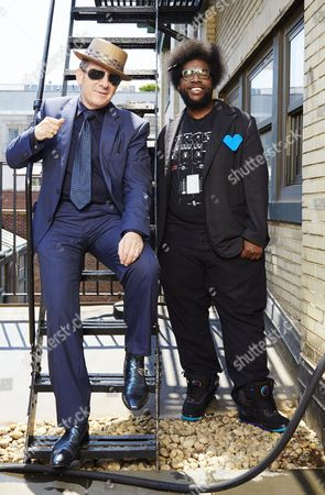 """Elvis Costello and Ahmir """"Questlove"""" Thompson From left, English singer-songwriter Elvis Costello poses for a portrait with drummer Ahmir """"Questlove"""" Thompson of """"The Roots"""", in promotion of their upcoming album """"Wise Up Ghost"""" on in New York"""
