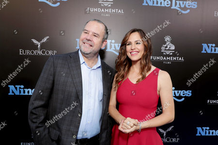 """Stock Image of Marc Shmuger, CEO, EuropaCorp, and Jennifer Garner seen at EuropaCorp Presents the World Premiere of """"Nine Lives"""" at TCL Chinese Theatre, in Los Angeles"""
