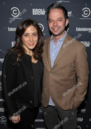 """Entertainment Weekly Associate Publisher, Advertising Sales Melissa Mattiace, left, and actor/comedian Nick Kroll attend exclusive screening of Comedy Central's """"Kroll Show"""" hosted by Entertainment Weekly on at LA's Silent Movie Theatre in Los Angeles"""