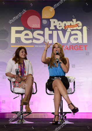Maria Marin, right, and Marlen Esparza onstage at Festival People en Espanol 2013, on at Henry B. Gonzalez Convention Center in San Antonio, Texas