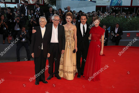 From left, actor Roberto Herlitzka, director Marco Bellocchio and actors Lidiya Liberman, Pier Giorgio Bellocchio and Alba Rohrwacher pose for photographers on the red carpet for the film Sangue Del Mio Sangue, at the 72nd edition of the Venice Film Festival in Venice, Italy, . The 72nd edition of the festival runs until Sept. 12