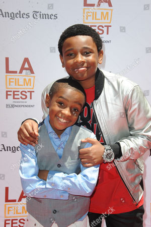Kaleel Harris, at left, and Curtis Harris arrives at The Los Angeles Film Festival Earth to Echo Premiere at Regal Cinemas L.A. Live Stadium, in Los Angeles