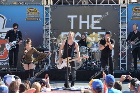 Kimberly, Reid and Neil Perry of The Band Perry performs prior to the Ford EcoBoost 400 at the Homestead Miami Speedway on in Homestead, Fla