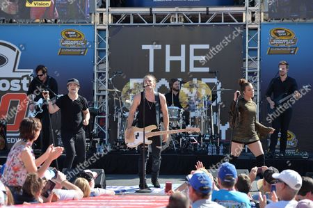 Reid, Kimberly and Neil Perry of The Band Perry perform prior to the Ford EcoBoost 400 at the Homestead Miami Speedway on in Homestead, Fla