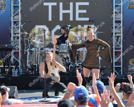 Reid, and Kimberly Perry of The Band Perry perform prior to the Ford EcoBoost 400 at the Homestead Miami Speedway on in Homestead, Fla