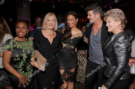 "Jennifer Lewis, Paula Patton and Robin Thicke with their mothers Joyce Patton and Gloria Loring at the after party for Fox Searchlight's Los Angeles Premiere of ""Baggage Claim"", on in Los Angeles"