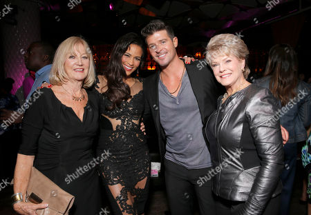 "Paula Patton and Robin Thicke with their mothers Joyce Patton and Gloria Loring at the after party for Fox Searchlight's Los Angeles Premiere of ""Baggage Claim"", on in Los Angeles"