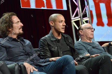 From left, Kim Coates, Theo Rossi and Dayton Callie speak on stage during the Sons of Anarchy panel at the The FX 2014 Summer TCA held at the Beverly Hilton Hotel, in Beverly Hills, Calif