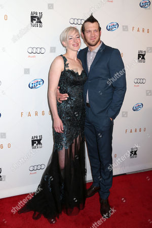 "Actor Russell Harvard and guest attend the FX Networks Upfront premiere screening of ""Fargo"" at the SVA Theater on in New York"