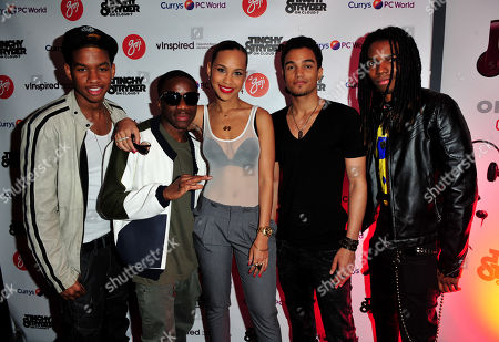 Jamar Harding, Tinchy Stryder, Amanda Reifer, T Ray Armstrong, Barry Hill, arrives at the Goji Tinchy Stryder: On Cloud 9 Launch Event for his Goji headphones and audio accessories range available exclusively at Currys and PC World at Paramount, Center Point, on in London