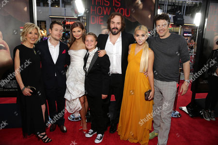"""Lin Shaye, Writer/Director Leigh Whannell, Stefanie Scott, Tate Berney, Angus Sampson, Hayley Kiyoko and producer Jason Blum seen at Gramercy Pictures presents the world premiere of """"Insidious: Chapter 3"""" held at TCL Chinese Theatre, in Hollywood"""