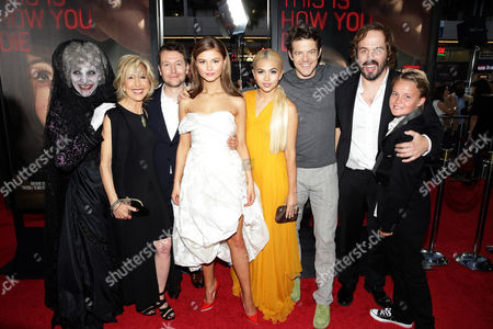 """The Black Bride, Lin Shaye, Writer/Director Leigh Whannell, Stefanie Scott, Hayley Kiyoko, Producer Jason Blum, Angus Sampson and Tate Berney seen at Gramercy Pictures presents the world premiere of """"Insidious: Chapter 3"""" held at TCL Chinese Theatre, in Hollywood"""