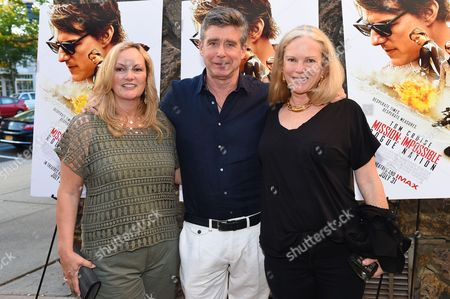 "Patty Hearst, left, Jay McInerney, middle, and Anne Hearst attend a special screening of ""Mission Impossible: Rogue Nation"" at the United Artists East Hampton Cinema 6, in East Hampton, NY"