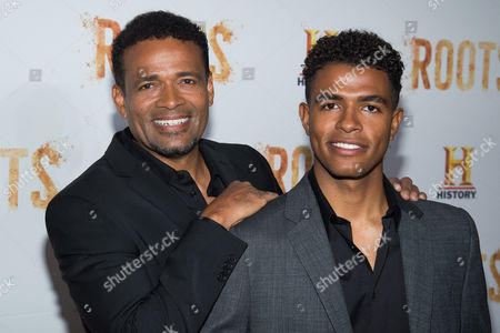 """Mario Van Peebles, left and Mandela Van Peebles attends History Channel's """"Roots"""" mini-series premiere at Alice Tully Hall, in New York"""