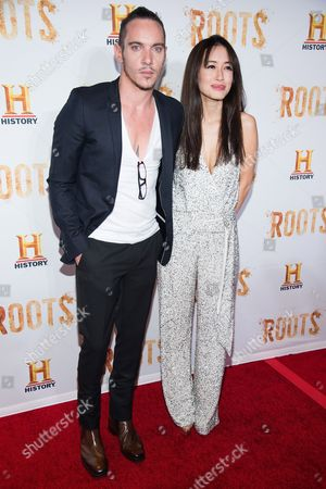 """Jonathan Rhys Meyers and Mara Lane attend History Channel's """"Roots"""" mini-series premiere at Alice Tully Hall, in New York"""