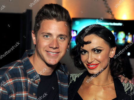 """The Bachelorette"""" winner Jef Holm, left, and Karina Smirnoff attend the Just Dance 4 launch party hosted by Ashley Benson and Christina Milian on in Los Angeles. Just Dance 4 hits store shelves on Tuesday, Oct. 9, 2012.Â"""