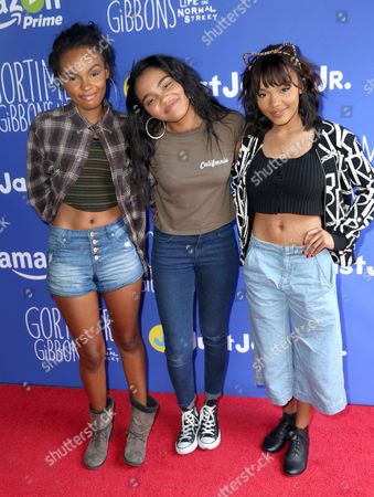 "Sierra Aylina McClain, from left, China Anne McClain and Lauryn Alisa McClain attend Just Jared Jr.'s Fall Fun Day celebrating Season 2 of Amazon Prime's ""Gortimer Gibbon's Life on Normal Street"", in Los Angeles"