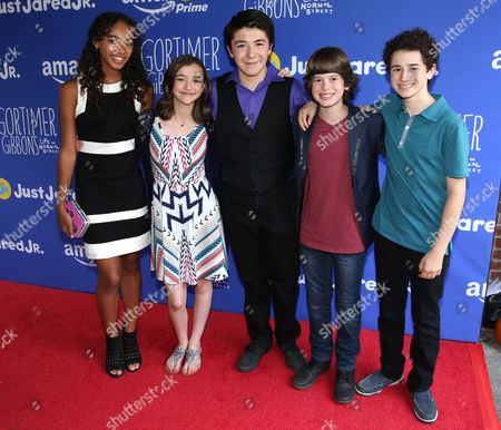 Chandler Kinney, from left, Ashley Boettcher, Sloane Morgan Siegel, Drew Justice and David Bloom attend Just Jared Jr.'s Fall Fun Day celebrating Season 2 of Amazon Prime's 'Gortimer Gibbon's Life on Normal Street', in Los Angeles