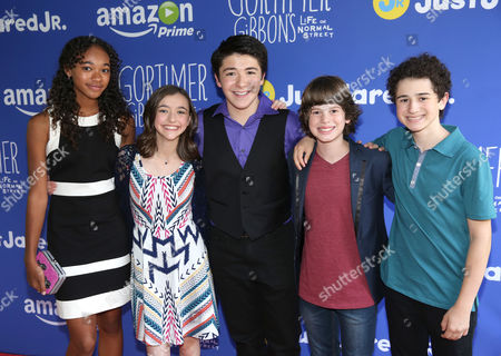 Stock Picture of Chandler Kinney, from left, Ashley Boettcher, Sloane Morgan Siegel, Drew Justice and David Bloom attend Just Jared Jr.'s Fall Fun Day celebrating Season 2 of Amazon Prime's 'Gortimer Gibbon's Life on Normal Street', in Los Angeles