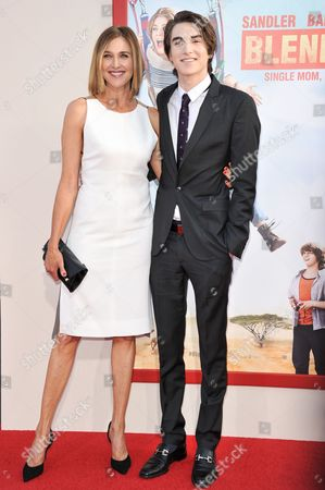 """Brenda Strong, left, and Zak Henri arrive at the LA Premiere of """"Blended"""" held at the TCL Chinese Theatre, in Los Angeles"""