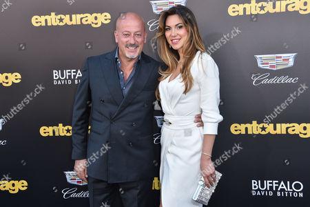 "Domenico Vacca, left and Eleonora Pieroni arrive at the LA Premiere Of ""Entourage"" at the Regency Village Theatre, in Los Angeles"