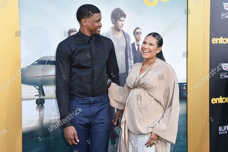 """Rudy Gay, left, and Ecko Gay arrive at the LA Premiere Of """"Entourage"""" at the Regency Village Theatre, in Los Angeles"""