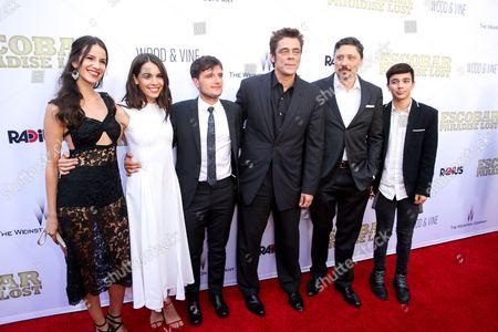 "Stock Picture of Laura Lodono, from left, Claudia Traisac, Josh Hutchinson, Benicio Del Toro, Carlos Bardem and Micke Moreno arrive at the LA Premiere of ""Escobar: Paradise Lost"" at the Arclight Hollywood, in Los Angeles"