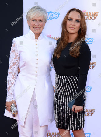 Glenn Close, left, and Annie Maude Stark arrive at the premiere of 'Guardians of the Galaxy' at El Capitan Theatre, in Los Angeles