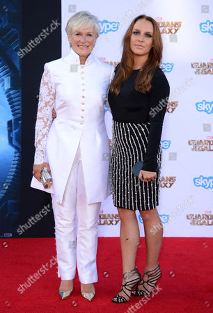 Stock Image of Glenn Close, left, and Annie Maude Stark arrive at the premiere of 'Guardians of the Galaxy' at El Capitan Theatre, in Los Angeles