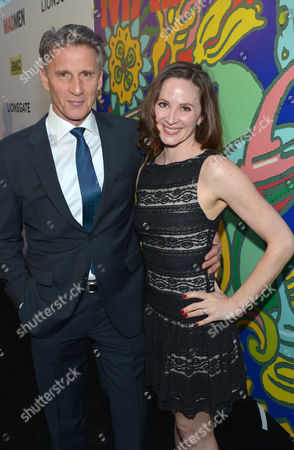 """Christopher Stanley, left, and Kim Stanley arrive at the LA premiere of """"Mad Men"""" season 7, in Los Angeles"""
