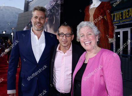 "From left to right, producer Lawrence Elman, executive producer Philip Alberstat, and producer Ileen Maisel arrive on the red carpet at the premiere of the feature film ""Romeo and Juliet"" at the ArcLight Hollywood on in Los Angeles"