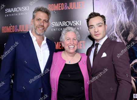 "From left to right, producer Lawrence Elman, producer Ileen Maisel, and actor Ed Westwick arrive on the red carpet at the premiere of the feature film ""Romeo and Juliet"" at the ArcLight Hollywood on in Los Angeles"