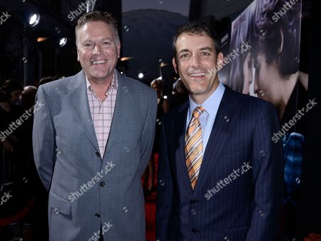 """Producer Andy Spaulding, left, and producer Doug Mankoff arrive on the red carpet at the premiere of the feature film """"Romeo and Juliet"""" at the ArcLight Hollywood on in Los Angeles"""