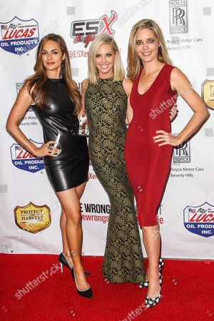 """Stock Image of From left, Lisa Russell, Ashley Michaelsen, and Christina Moore, attend the premiere of """"The Wrong Side of Right"""" at the TCL Chinese Theater, in Los Angeles"""
