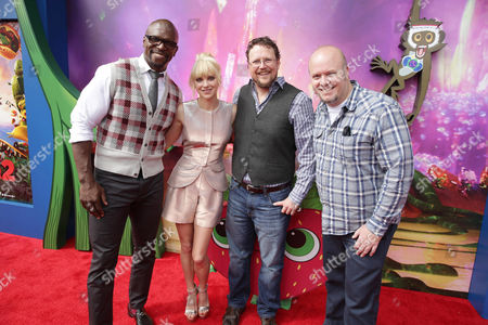 Terry Crews, Anna Faris, Director Kris Pearn and Director Cody Cameron seen on the red carpet at the Columbia Pictures and Sony Pictures Animation premiere of 'Cloudy with a Chance of Meatballs 2' held at the Regency Village Theatre on Saturday, Sept, 21, 2013 in Los Angeles
