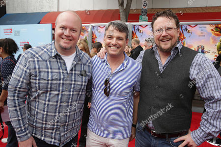 Stock Photo of Director Cody Cameron, Bob Osher President, Sony Pictures Digital Productions and Director Kris Pearn seen on the red carpet at the Columbia Pictures and Sony Pictures Animation premiere of 'Cloudy with a Chance of Meatballs 2' held at the Regency Village Theatre on Saturday, Sept, 21, 2013 in Los Angeles