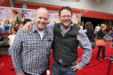 Stock Image of Directors Cody Cameron and Kris Pearn seen on the red carpet at the Columbia Pictures and Sony Pictures Animation premiere of 'Cloudy with a Chance of Meatballs 2' held at the Regency Village Theatre on Saturday, Sept, 21, 2013 in Los Angeles