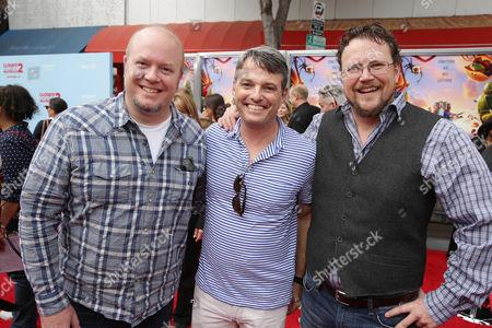 Director Cody Cameron, Bob Osher President, Sony Pictures Digital Productions and Director Kris Pearn seen on the red carpet at the Columbia Pictures and Sony Pictures Animation premiere of 'Cloudy with a Chance of Meatballs 2' held at the Regency Village Theatre on Saturday, Sept, 21, 2013 in Los Angeles