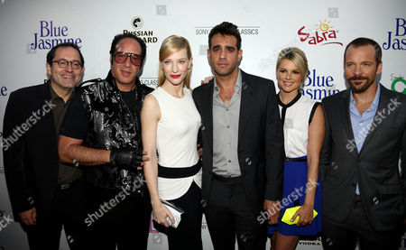 """From left, Michael Barker, Andrew Dice Clay, Cate Blanchett, Bobby Cannavale, Ali Fedotowsky and Peter Sarsgaard pose together on the red carpet at the LA Premiere of """"Blue Jasmine"""" at the Academy of Motion Pictures Arts and Sciences on in Los Angeles"""