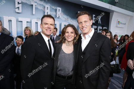 """Producer Paul Schwake, executive producer Dana Goldberg and executive producer David Ellison arrive at the LA premiere of """"Star Trek Into Darkness"""" at The Dolby Theater on in Los Angeles"""