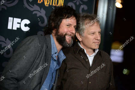 """Matt Piedmont, left, and Andrew Steele arrive at the LA Premiere screening of """"The Spoils of Babylon"""" at the DGA Theater on in Los Angeles"""