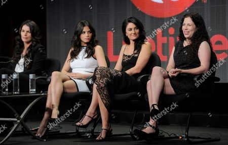 """Maggie Friedman, far right, executive producer of the Lifetime series """"Witches of East End,"""" answers a question onstage as cast members, left to right, Julia Ormond, Jenna Dewan and Madchen Amick look on during the Lifetime 2013 Summer TCA press tour on in Beverly Hills, Calif"""