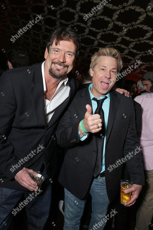 """Stock Photo of Tom Mabe and Kato Kaelin seen at Lionsgate Los Angeles Premiere of """"Natural Born Pranksters"""" after party at Regal L.A. LIVE, in Los Angeles"""
